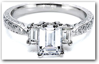 Emerald Diamond 3 Stone Setting