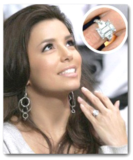 Eva Longoria with Emerald Diamond Ring