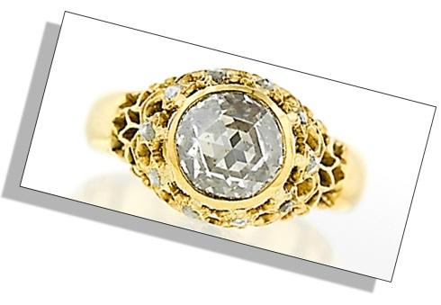 Estate Engagement Ring Rose Cut Victorian