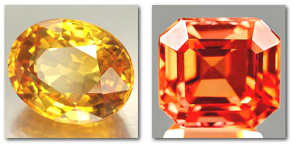 Yellow and Padparadscha sapphires