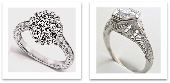Filigree Antique Engagement Rings
