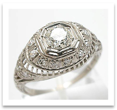 Platinum Filigree Engagement Ring