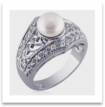 Sterling Silver Filigree Engagement Ring