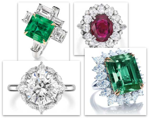 Harry Winston Engagement Rings with different shaped stones