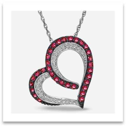 Heart Pendant Necklace with small rubies and diamonds