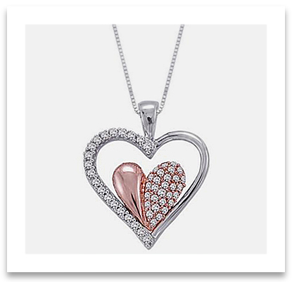 Two Tone Heart Pendant Necklace