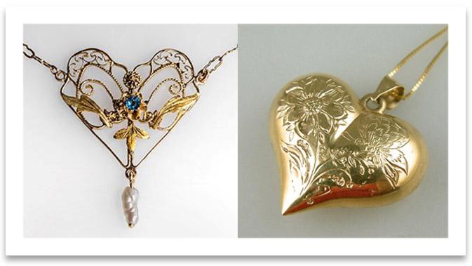 Antique Heart Pendant Necklaces