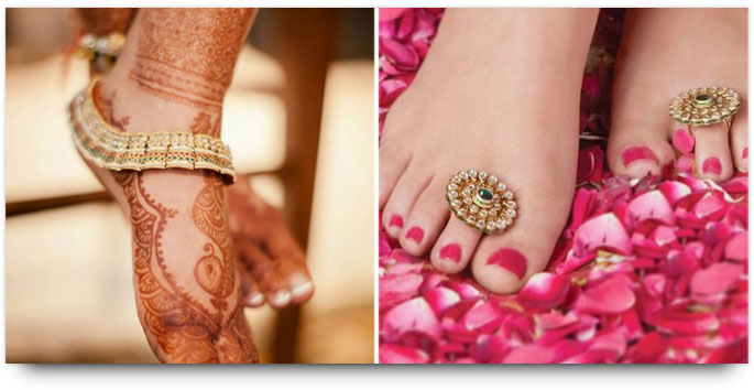 Indian Bridal Jewelry - Anklet and Toerings