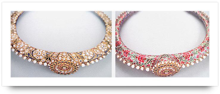Kundan Jewelry Meenakari Collar Necklace