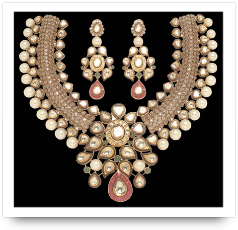 Kundan Ruby and Pearl Necklace Anmol Jewelers