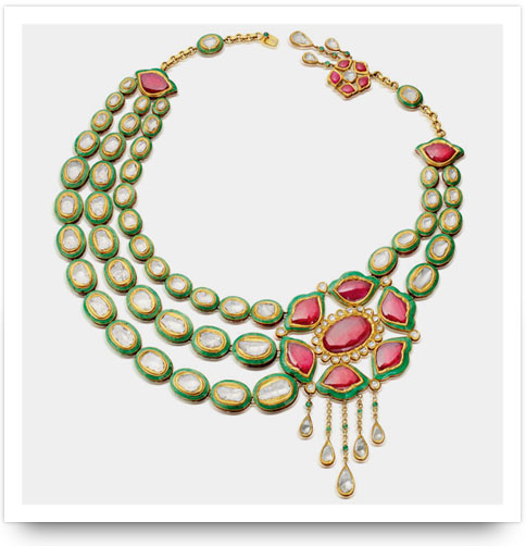 Kundan Ruby Necklace Amrapali Jewelers