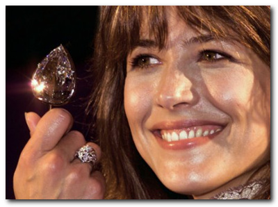 Sophie Marceau with Millennium Star diamond