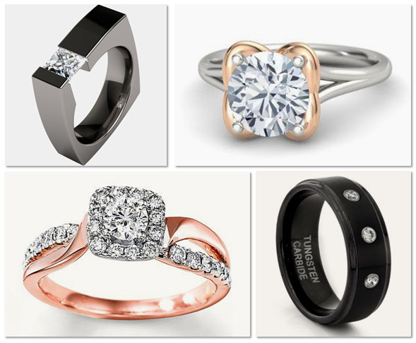 Metals used in modern engagement rings