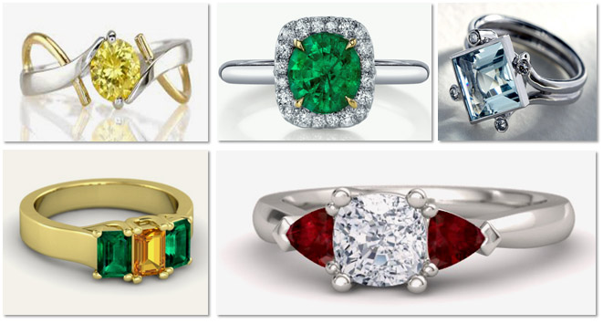 Modern Gemstone Engagement Rings
