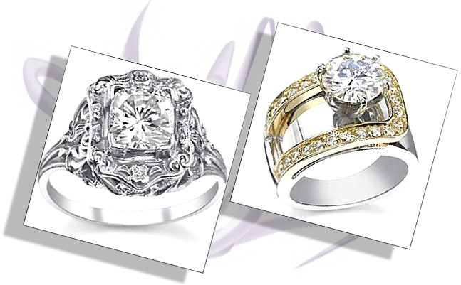 Antique and Contemporary moissanite engagement rings
