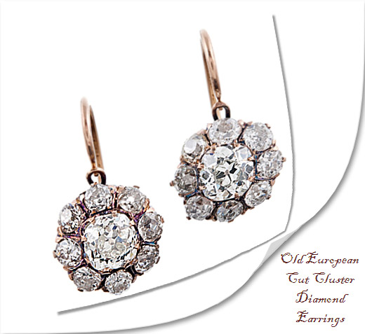 Old European Cut Cluster Diamond Earrings