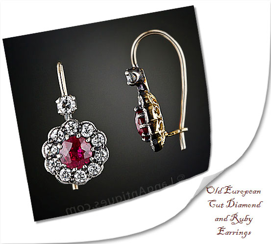 Old European Cut Diamond and Ruby Earrings