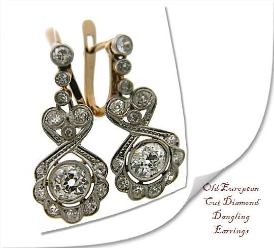 Old European Cut Diamond Dangling Earrings