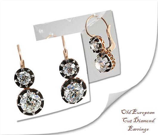 Old European Cut Diamond Earrings