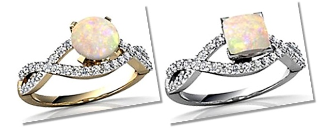 Round and princess cut antique opal engagement rings