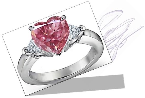 Heart shaped Pink Diamond Engagement Ring