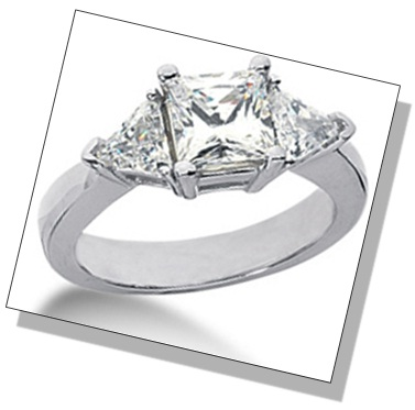 Princess Shaped Diamond 3 Stone Setting