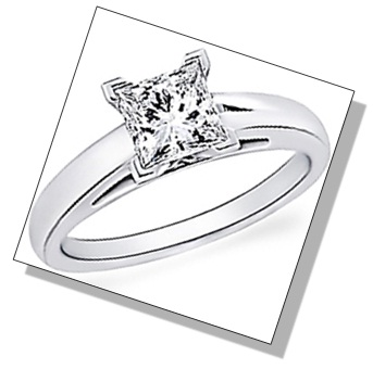 Princess Shaped Diamond with V-Prong Setting