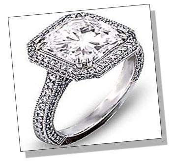 Radiant Diamond Sidestone Setting