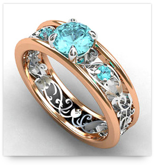 Rose Gold Engagement Ring with Aquamarine