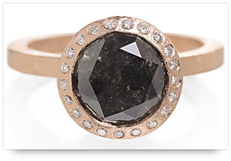 Todd Reed's Rose Gold Black Diamond Engagement Ring