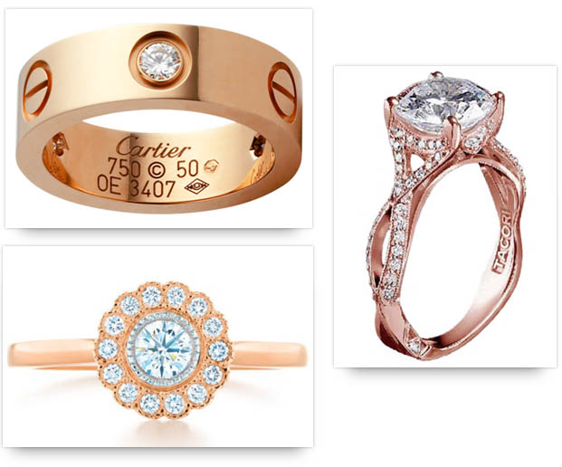 Rose Gold Engagement Rings from Cartier, Tacori and Tiffany