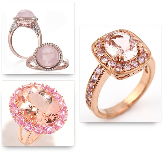 Rose Gold Engagement Rings with similar colored stones