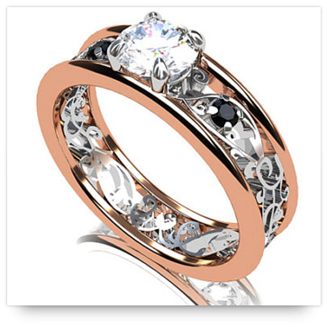 Rose Gold Engagement Ring with two-tone effect