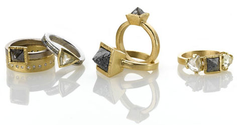 Todd Reed's designs of rough diamond engagement rings