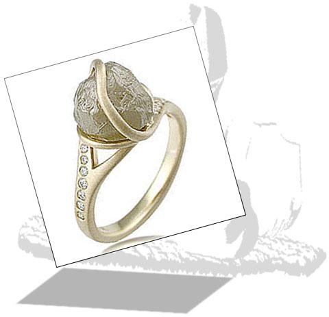 Rough Diamond Engagement Ring