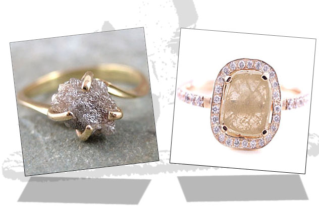 Rough diamond engagement rings with prong and prong-halo settings