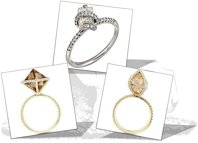 Unique rough diamond engagement rings