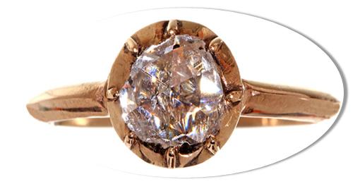 Rose Cut Round Diamond Engagement Ring
