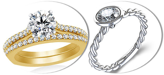 Round Diamond Engagement Rings with Prong and Bezel Settings
