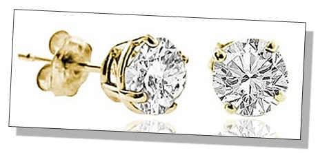 Round Shaped Diamond Stud Earrings