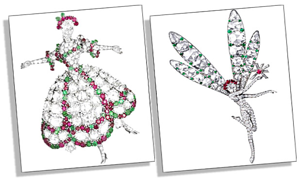 Signature Van Cleef Arpels Ballerina Brooch and Fairy Clip
