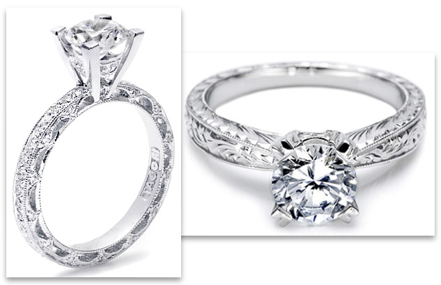 Tacori Engagement Rings - crescent silhouette and engraved