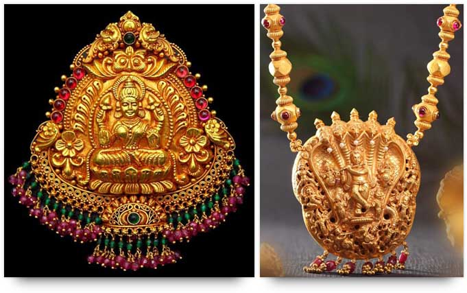 Temple Jewelry - Goddess Lakshmi pendant and Lord Krishna necklace