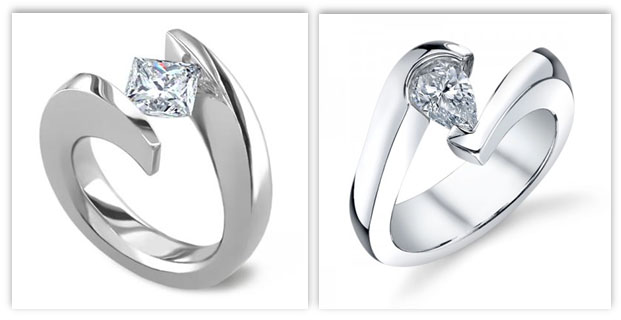 Fancy Shaped Tension Engagement Rings