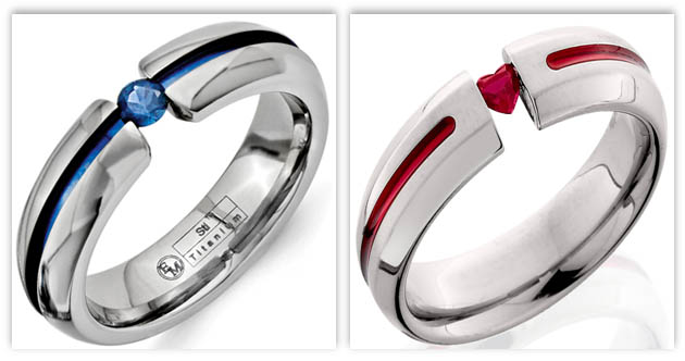 Ruby and Sapphire Tension Engagement Rings