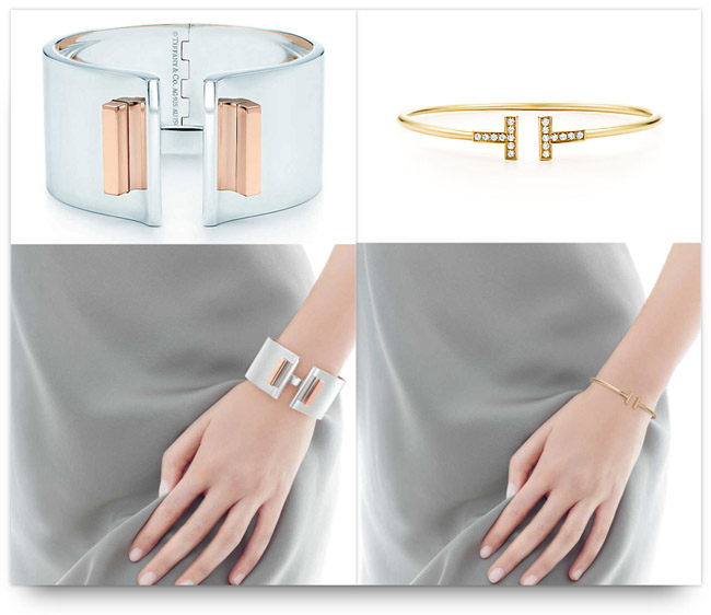 Tiffany T bold cuff and delicate bracelet