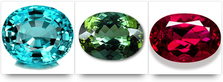 Paraiba, chrome and rubelite tourmaline