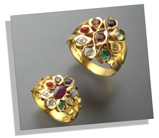 Traditional Indian Navratna Couple Rings