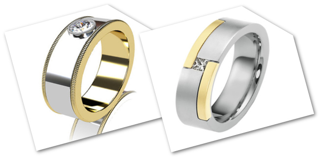 Two Tone Men's Engagement Rings