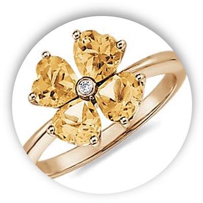 Unique Citrine Diamond Engagement Ring